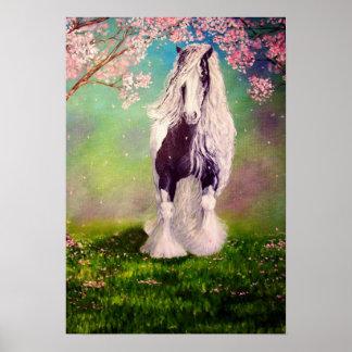"""Gypsy Blossom"" Irish Vanner stallion caravan cob Poster"