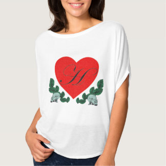 H in a heart tshirts