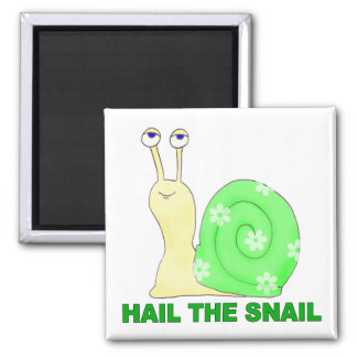 Hail the snail square magnet