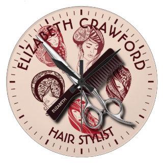 Hair Stylist Hairdresser Or Beauty Salon With Name Clock