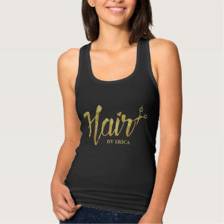 Hair Stylist Modern Gold Script Beauty Salon Tshirt