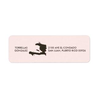 Haiti Map: Personalized: Pink Return Address Label