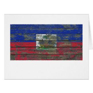 Haitian Flag on Rough Wood Boards Effect Big Greeting Card