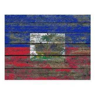 Haitian Flag on Rough Wood Boards Effect Postcard