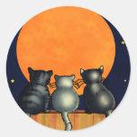 Halloween Cats Watch the Moon - Vintage Style Round Sticker