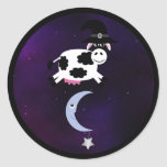 Halloween Cow with Witches Hat Jumping over Moon Round Sticker