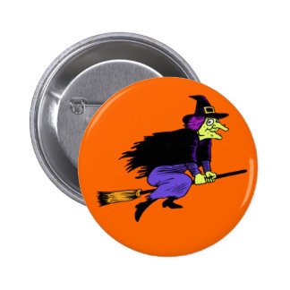 Halloween Flying Witch 6 Cm Round Badge