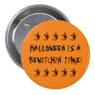 Halloween Is A Bewitchin' Time! Flying Black Witch 7.5 Cm Round Badge