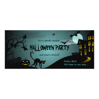 Halloween Party Black Cat Haunted House Blue 10 Cm X 24 Cm Invitation Card