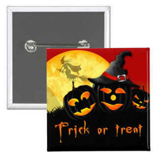 Halloween Square Button/Flying Witch and Pumpkins 15 Cm Square Badge