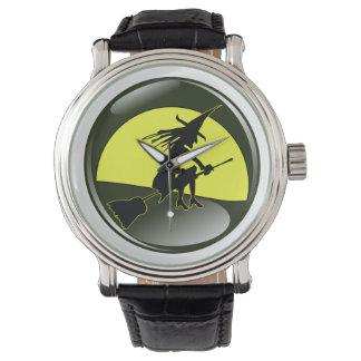 Halloween witch on broom in front of yellow moon wrist watch