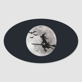 Halloween witch with a cat flies on the sky oval sticker
