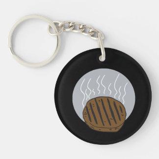 Hamburger Double-Sided Round Acrylic Key Ring