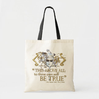 "Hamlet ""own self be true"" Quote (Gold Version) Budget Tote Bag"
