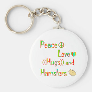 Hamster Hugs Basic Round Button Key Ring
