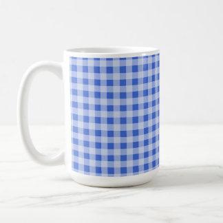 Han Blue Gingham; Checkered Basic White Mug