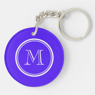 Han Purple High End Colored Monogram Double-Sided Round Acrylic Key Ring