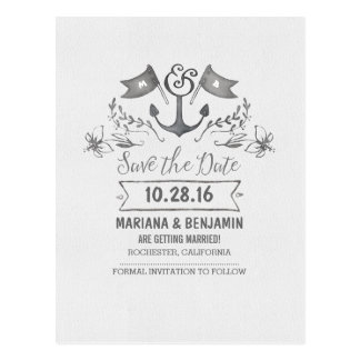Hand drawn nautical save the date anchor postcards