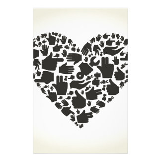 Hand heart personalised stationery