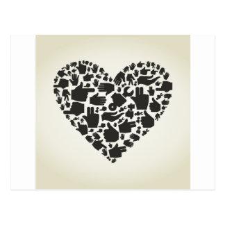 Hand heart postcard