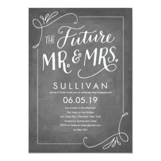 Hand Lettered Future Engagement Chalkboard 13 Cm X 18 Cm Invitation Card