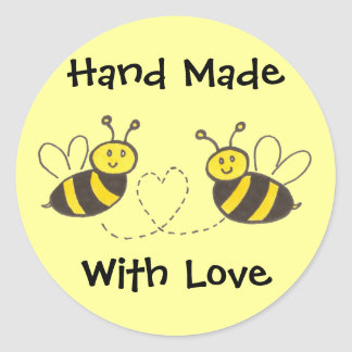 Hand Made with Love - Honey Bees with Heart Round Sticker