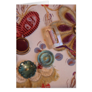 Hand Printed And Sewn Design Greeting Card