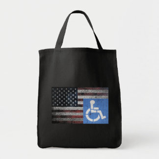 Handicapped Veteran Flag Grocery Tote Bag