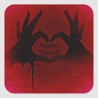 Hands bloody heart square sticker