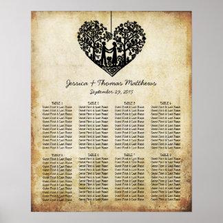 Hanging Heart Tree Vintage Wedding Seating Chart Poster