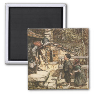 Hansel and Gretel Meet the Witch Square Magnet