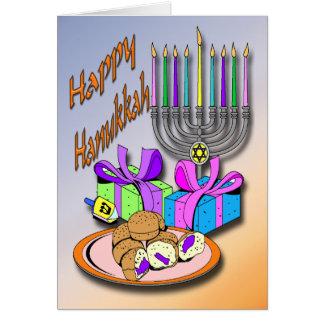 Hanukkah - Donuts, Menorah, Dreidel Card