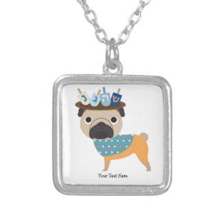 Hanukkah Dreidel Pug (customizable) Square Pendant Necklace