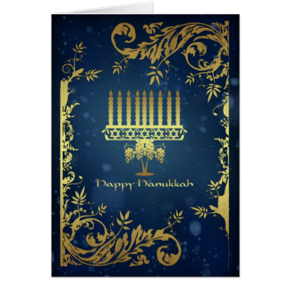 hanukkah holiday card with menorah