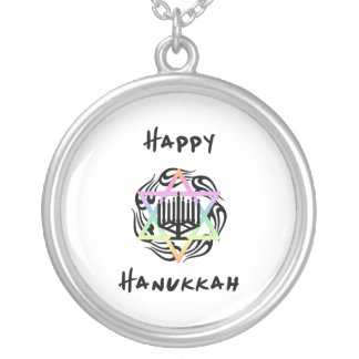 Hanukkah Menorah Round Pendant Necklace