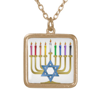Hanukkah Rainbow Candles Gold Menorah Square Pendant Necklace