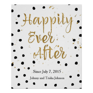 Happily Ever After Gold and Dots Poster