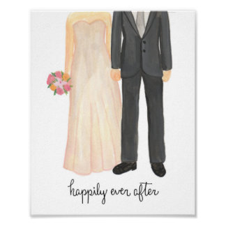 Happily Ever After Wedding Couple art print
