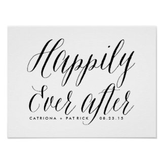Happily Ever After Wedding Poster   Black