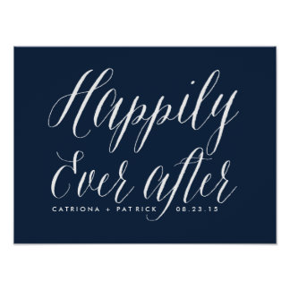Happily Ever After Wedding Poster   Navy