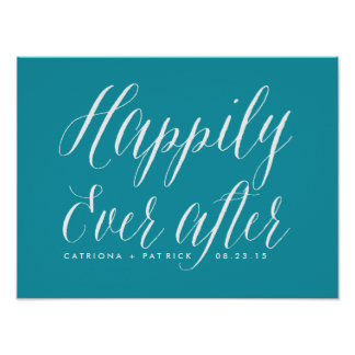 Happily Ever After Wedding Poster   Teal