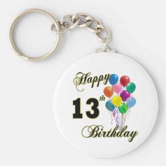 Happy 13th Birthday Gifts and Birthday Apparel Basic Round Button Key Ring