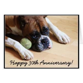 Happy 30th Anniversary boxer dog greeting card