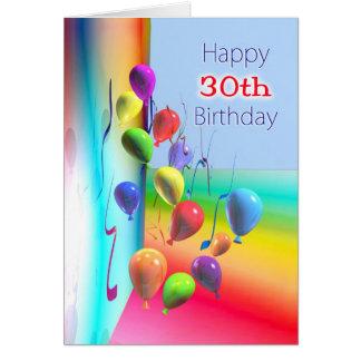 Happy 30th Birthday Balloon Wall Greeting Card
