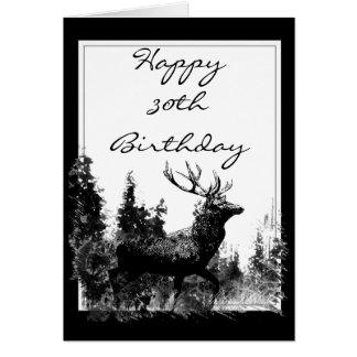 Happy 30th Birthday Custom Vintage Stag, Deer Greeting Card
