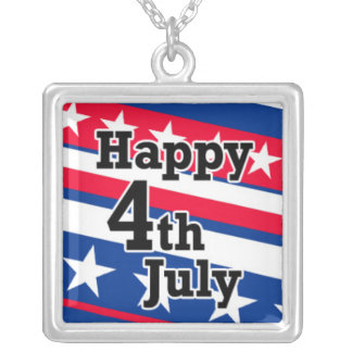 Happy 4th July on Patriotic Stars and Stripes Square Pendant Necklace