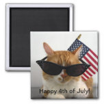 Happy 4th of July Cool Cat with Flag Magnet