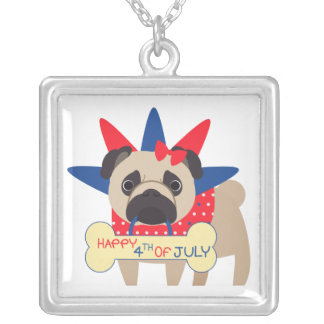Happy 4th of July Pug in Statue of Libery Hat Square Pendant Necklace