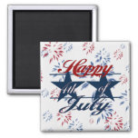 Happy 4th of July Square Magnet