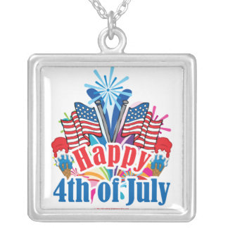 Happy 4th of July Square Pendant Necklace